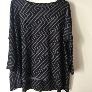 Geometric Patterned Boat Neck Top